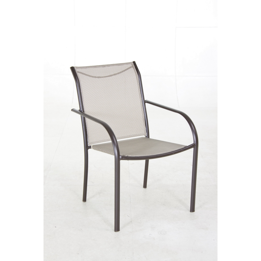 Bronze sling seat steel stackable patio dining chair at lowes com