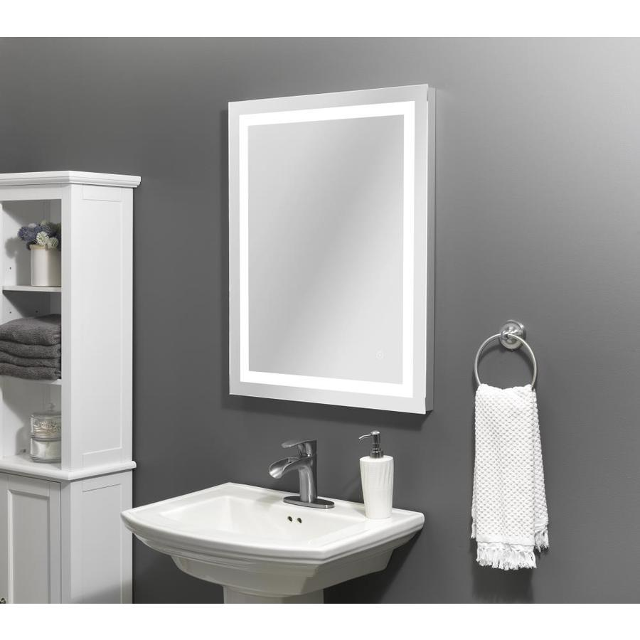 Style Selections 24 In Lighted Led Fog Free Led Lit Mirror Rectangular Frameless Bathroom Mirror In The Bathroom Mirrors Department At Lowes Com