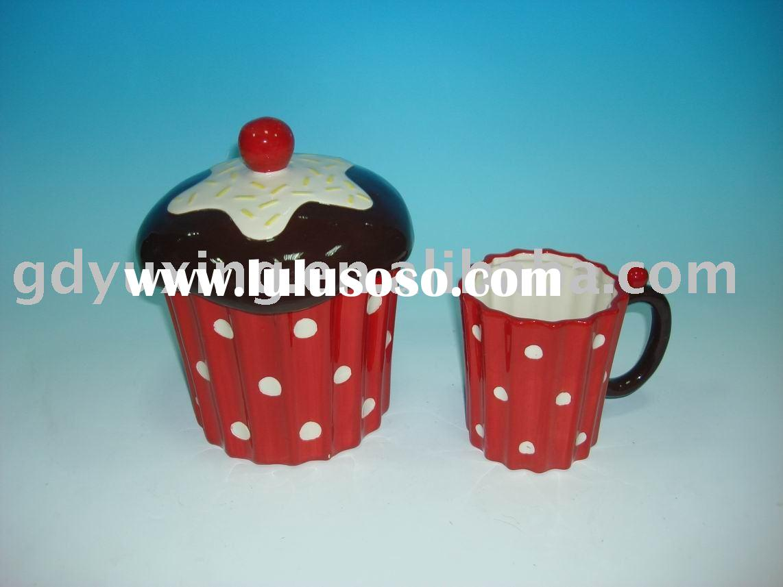 Ceramic Cookie Jar Sets Ceramic Cookie Mug With Face Design Hot For Sale Price