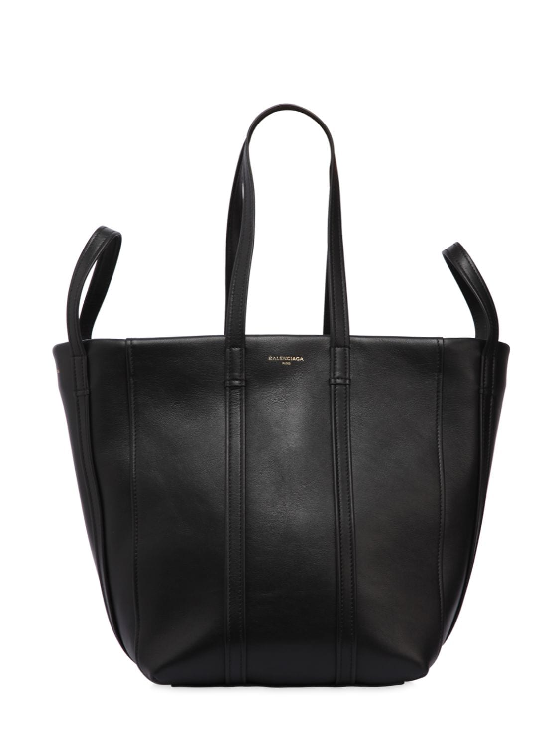 Mini Laundry Bag Balenciaga Small Laundry Leather Tote Bag In Black Modesens