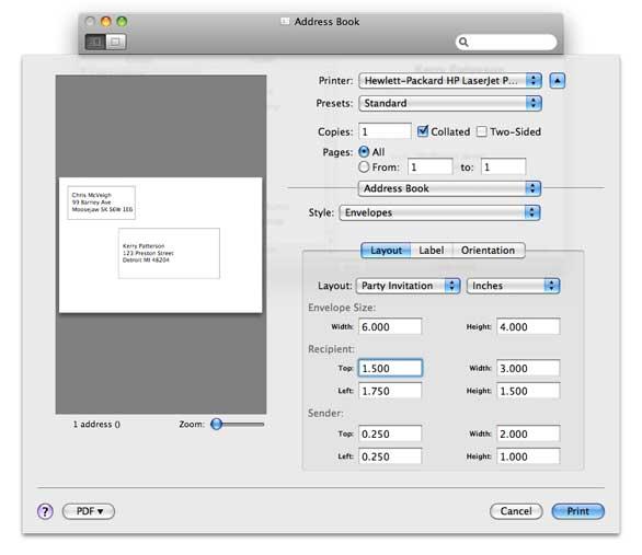 Print customized envelopes with Address Book Macworld - envelope printing template
