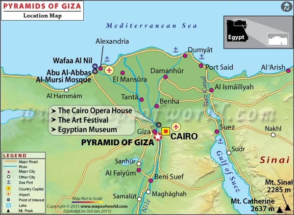 Location map of Pyramid of Giza