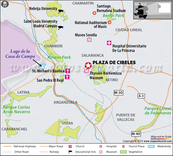 Location Map of Plaza De Cibeles in Madrid, Spain