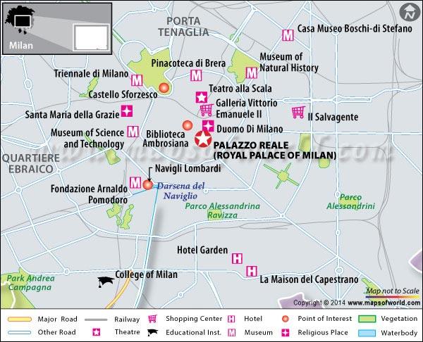 Location Map of Royal Palace of Milan
