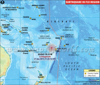 Earthquakes in Fiji | Areas affected by Earthquakes in Fiji