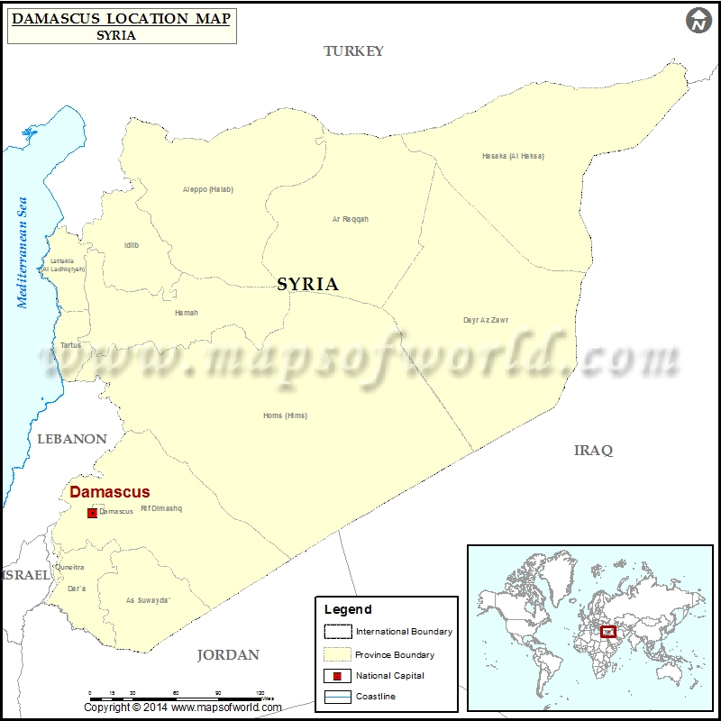 Where is Damascus Location of Damascus in Syria Map - best of world map hungary syria