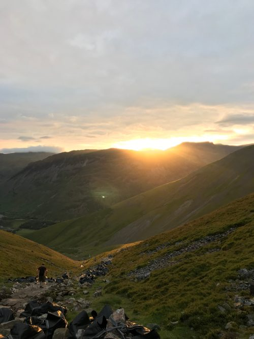 Sunsetting on descent of Scafell