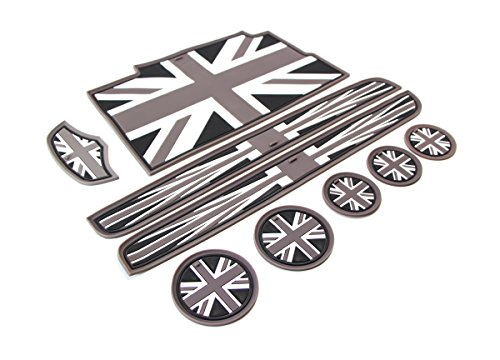 Ijdmtoy 9pc Soft Silicone Black Grey Union Jack Style Cup