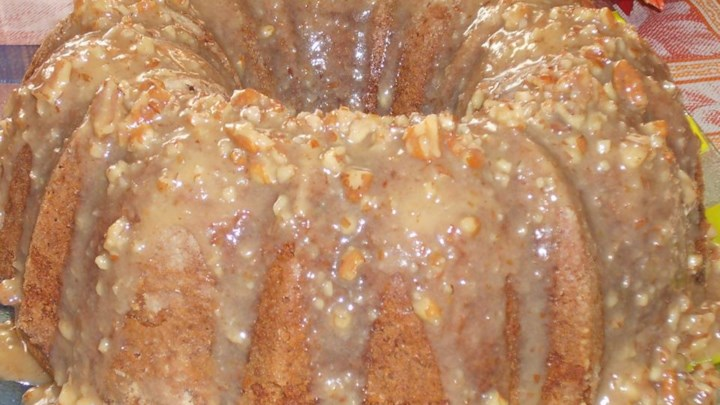 Paleo Jim's Apple Raisin Pound Cake with Praline Glaze