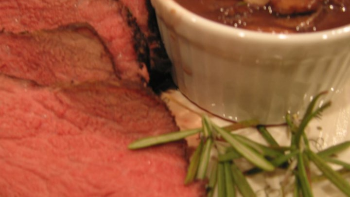 Paleo Boneless Garlic and Rosemary Rubbed Prime Rib with Red Wine Mushroom Sauce