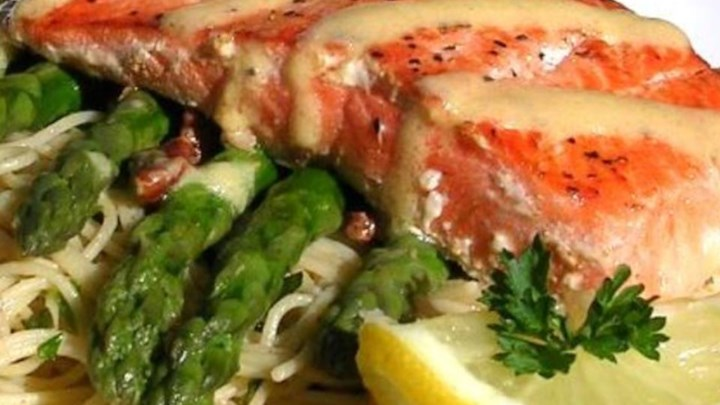 Paleo Salmon With Dijon Butter Sauce, Asparagus and Herb Butter Angel Hair Pasta