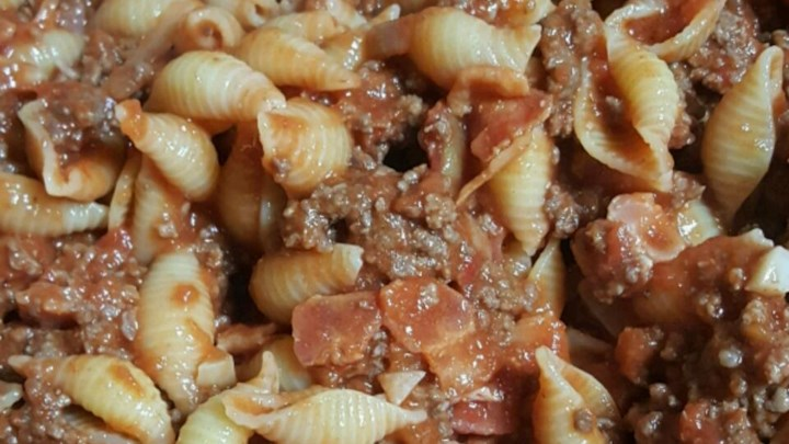 Paleo Shells with Bacon and Beef Sauce
