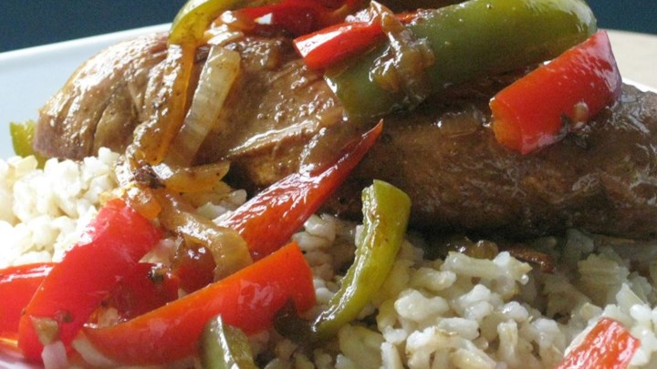 Paleo Aunt Jules' Balsalmic Chicken with Peppers