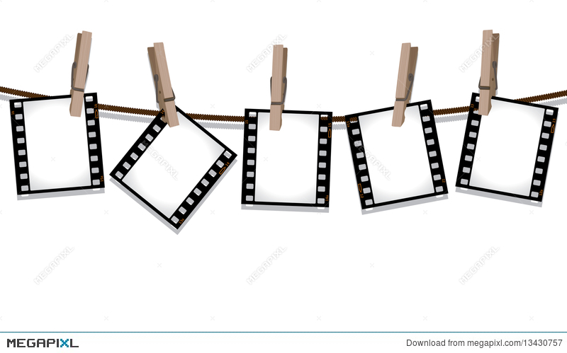 Film Strips Hanging Out To Dry Illustration 13430757 - Megapixl