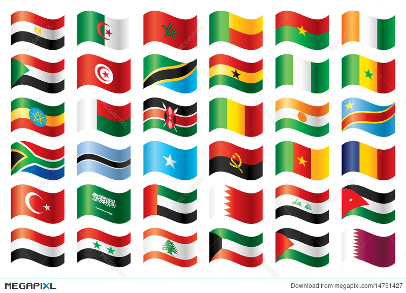 Wavy Flags Set - Africa  Middle East Illustration 14751427 - Megapixl