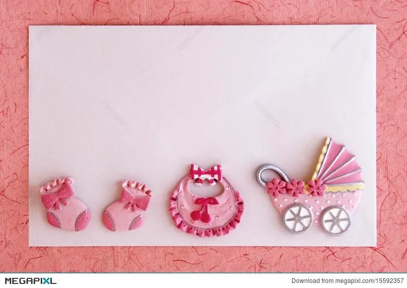 Baby Girl Announcement Card Stock Photo 15592357 - Megapixl