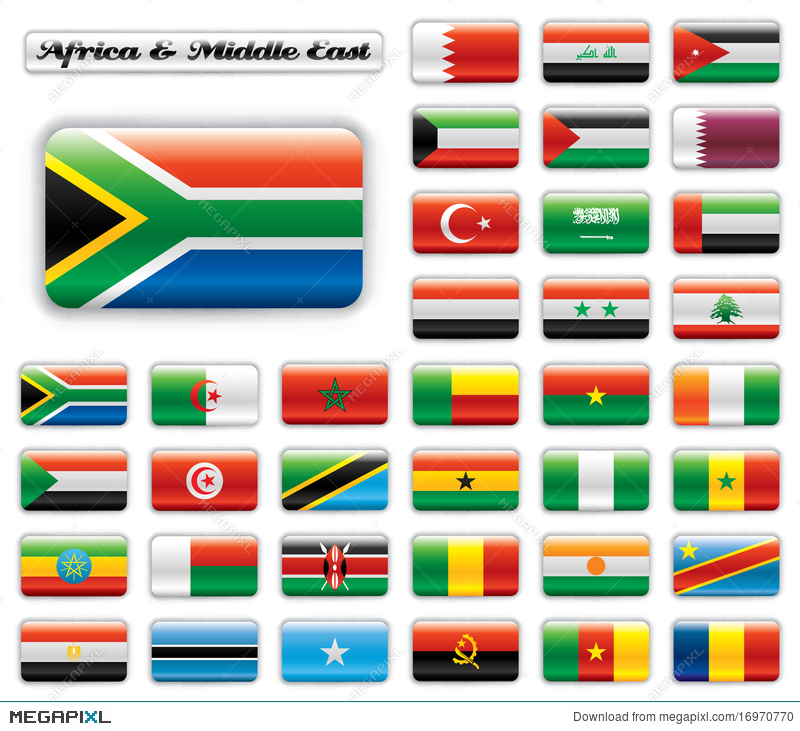Extra Glossy Button Flags - Africa  Middle East Illustration