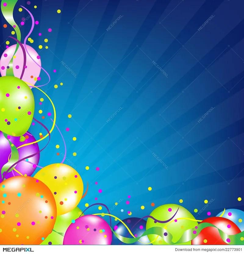Birthday Background With Balloons And Sunburst Illustration 22773901 - birthday backround