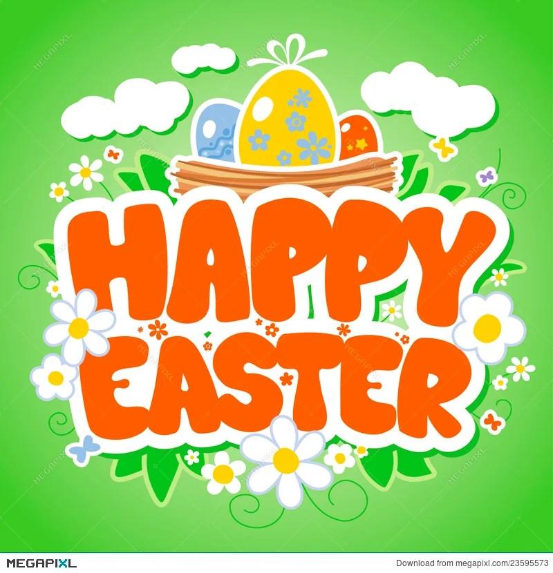 Happy Easter Card Template Illustration 23595573 - Megapixl