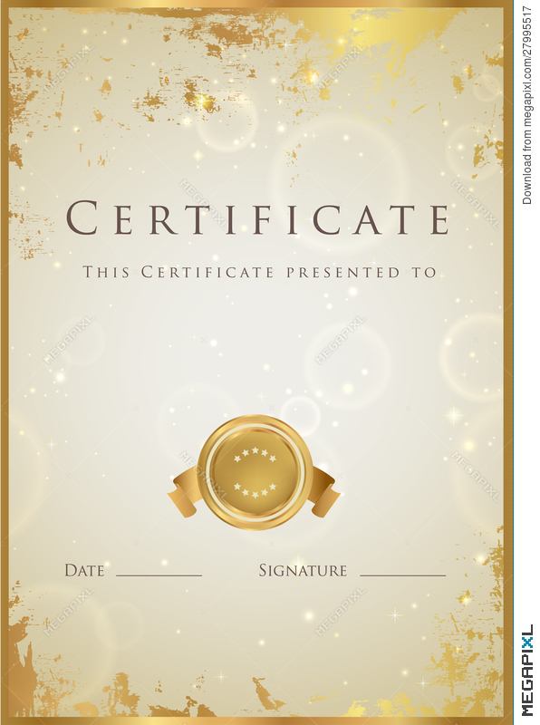 Gold Certificate / Diploma Award Template Pattern Illustration