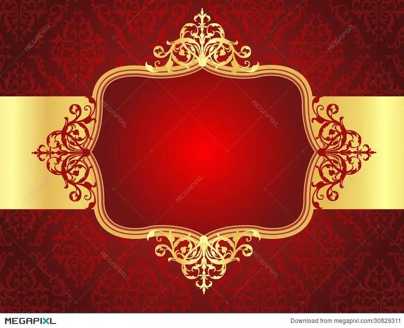 Wedding Invitation Background With Red Damask Patt Illustration