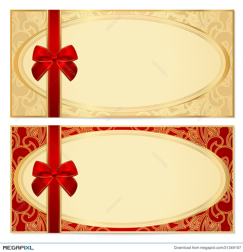 Gift Certificate (Voucher) Template Bow, Pattern Illustration