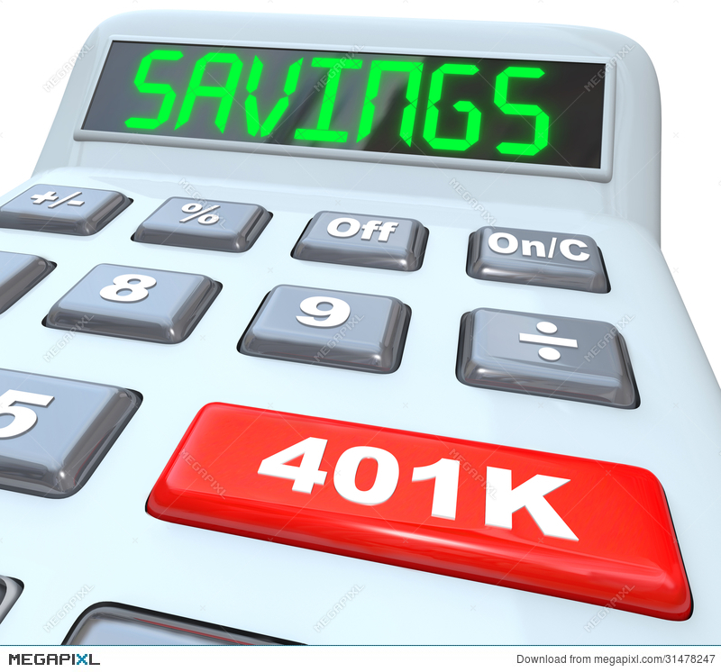 Savings Word Calculator 401K Button Retirement Future Illustration