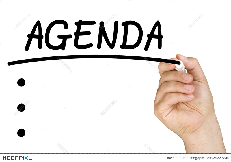 Hand Writing Agenda Clear Glass Whiteboard Stock Photo 39337240