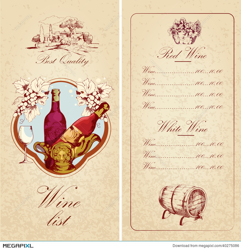 Wine List Template Illustration 40275086 - Megapixl