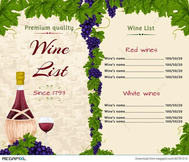 Wine List Template Illustration 40781510 - Megapixl