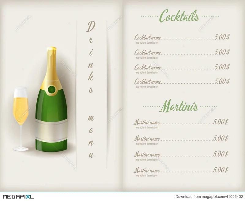 Drink Menu Template Illustration 41096432 - Megapixl - drinks menu template