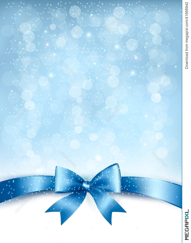 Blue Elegant Holiday Background With Gift Bow And Ribbon