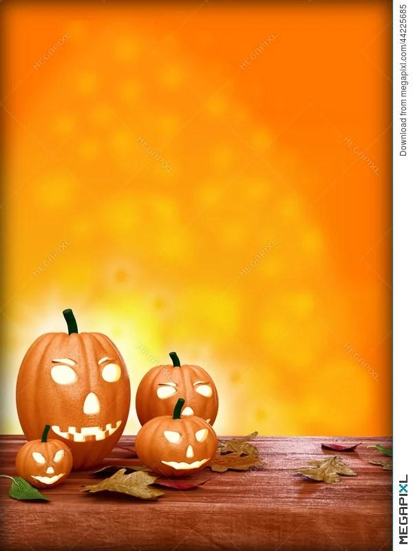 Halloween Flyer Design Template, With Pumpkin Illustration 44225685