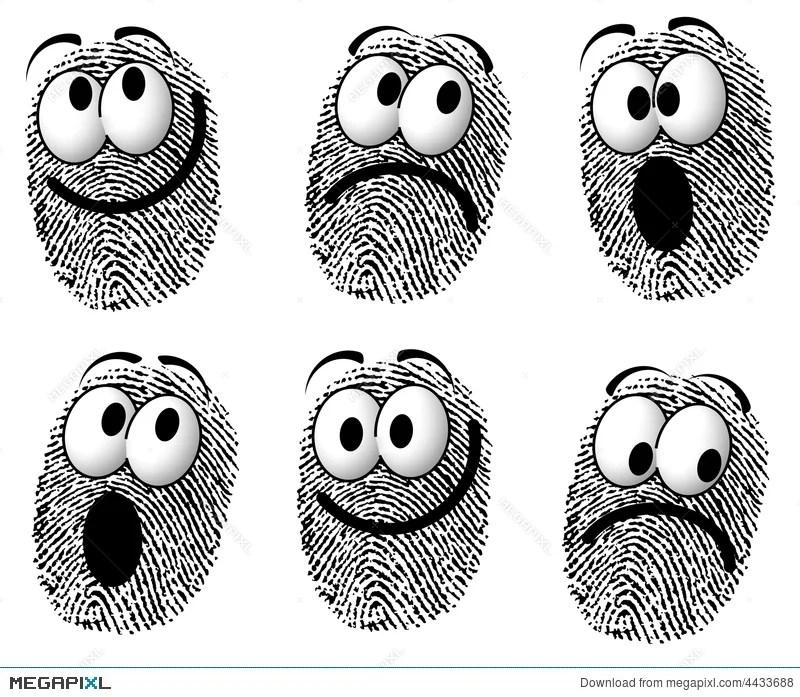 Fingerprint Cartoon Faces Illustration 4433688 - Megapixl