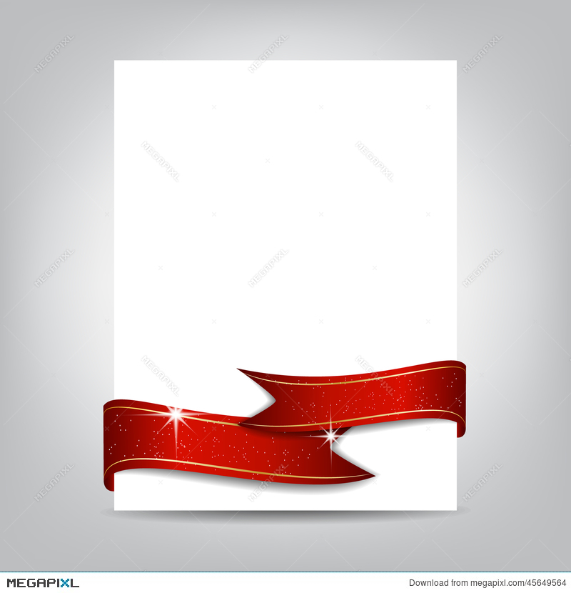 Christmas Flyer Template, Paper Banner With Red Ribbon Illustration