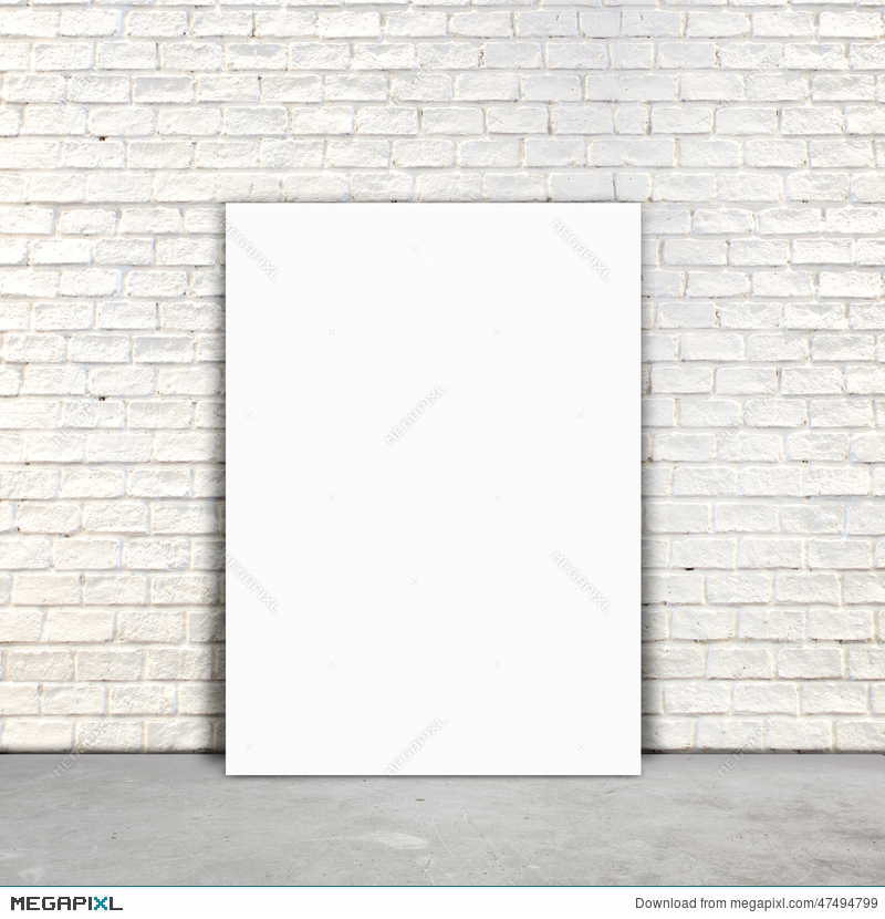 Blank Poster Paper Standing Next To A White Brick Wall Illustration
