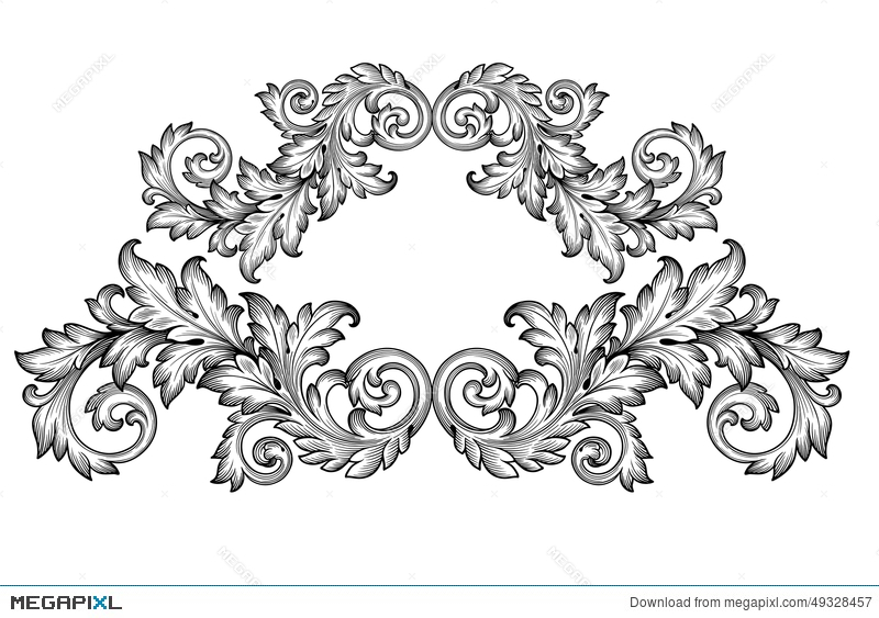Vintage Baroque Frame Scroll Ornament Vector Illustration 49328457 - baroque scroll designs