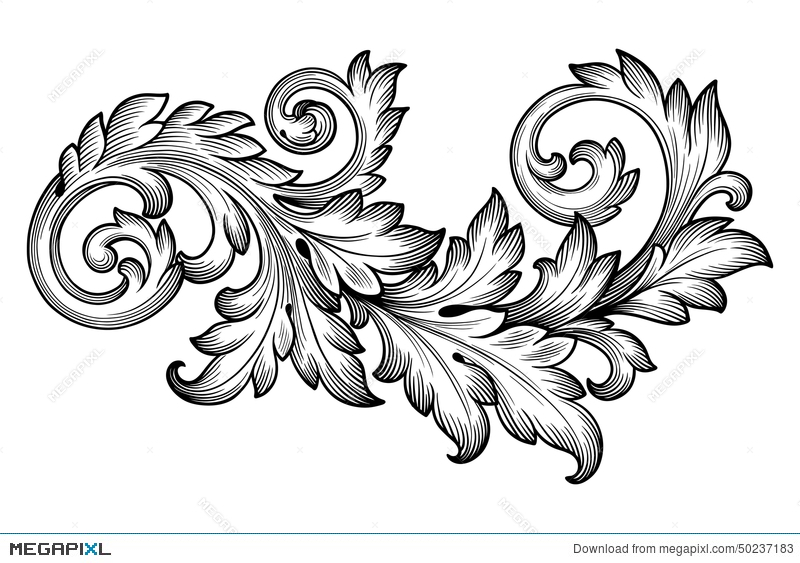 Vintage Baroque Foliage Floral Scroll Ornament Vector Illustration - baroque scroll designs