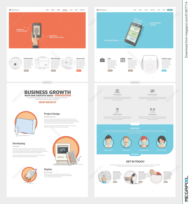 Two Page Website Design Template With Concept Icons And Avatars For