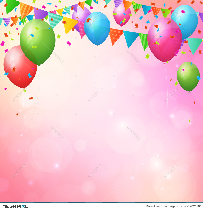 Happy Birthday Background With Balloons And Flags Illustration