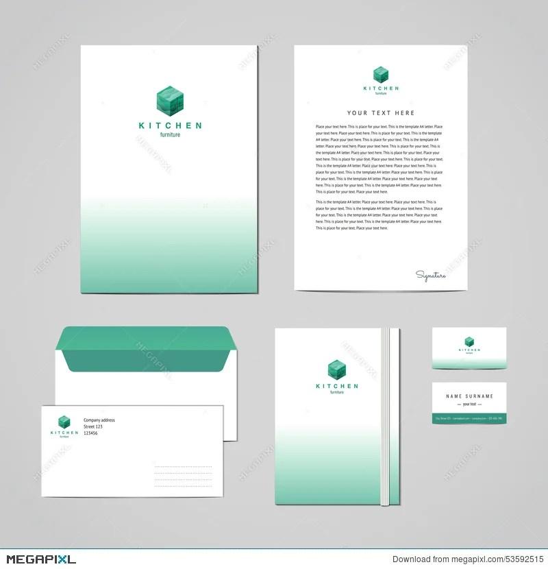 Corporate Identity Furniture Company Turquoise Design Template - letterhead and envelope design