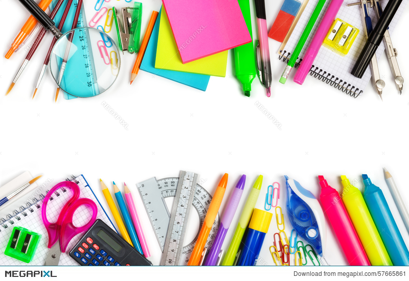 School Supplies Double Border Stock Photo 57665861 - Megapixl