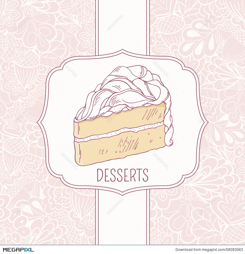 Dessert Menu Template With Sweet Cake And Doodle Illustration