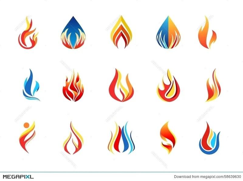Fire Flame Logo, Modern Flames Collection Logotype Symbol Icon - flame logo