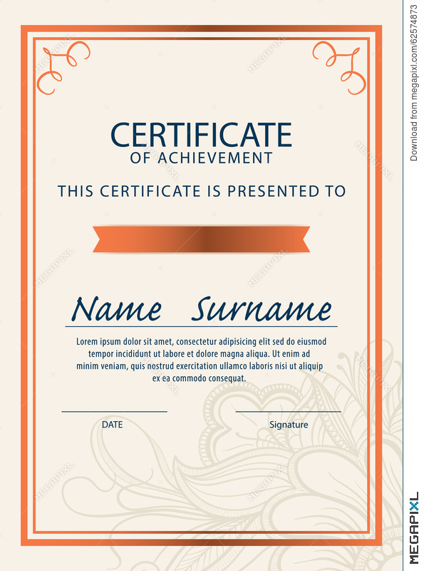 Certificate Template,diploma,a4 Size ,vector Illustration 62574873 - certificate layout