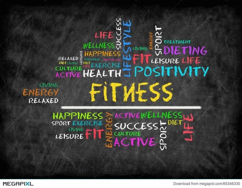 Fitness Word Cloud, Fitness, Sport, Health Concept On Chalkboar