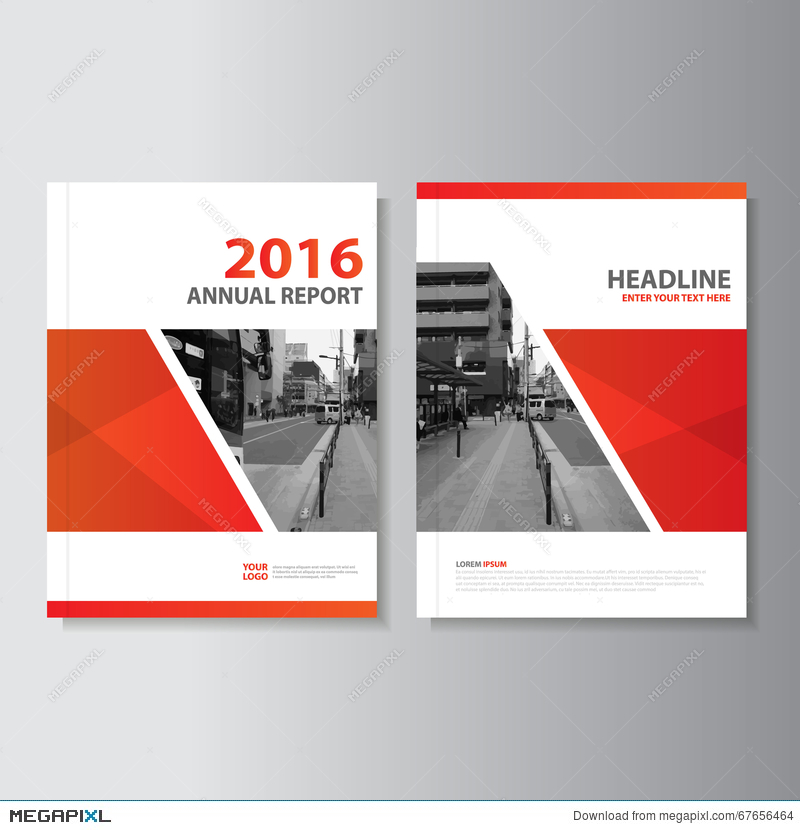 Red Vector Annual Report Magazine Leaflet Brochure Flyer Template - annual report template design
