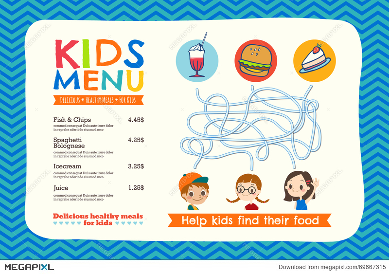Cute Colorful Kids Meal Menu Template Illustration 69867315 - Megapixl