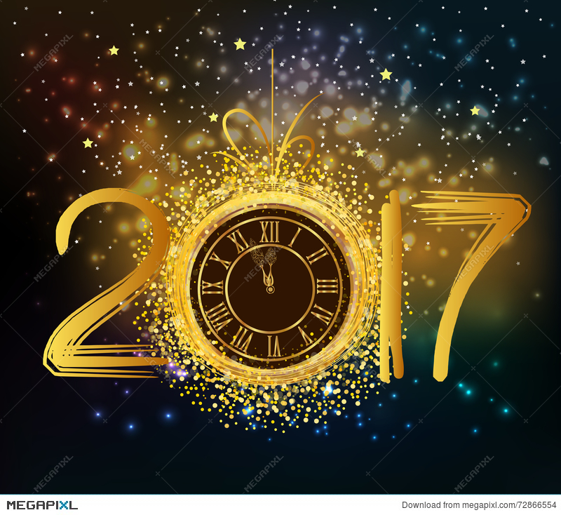 2017 Happy New Year Background With Gold Clock Illustration 72866554