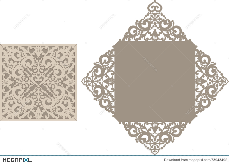Laser Cut Envelope Template For Invitation Wedding Card Illustration